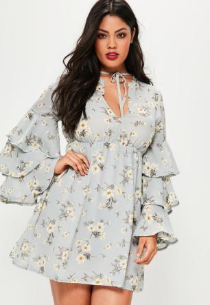 plus-size-blue-shade-floral-print-frill-sleeve-dress