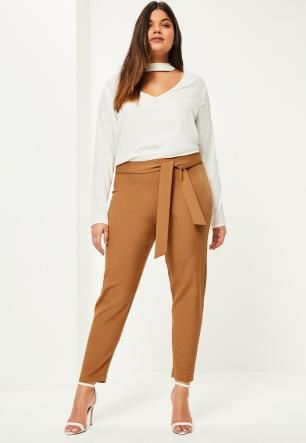 plus-size-camel-belted-cigarette-trousers